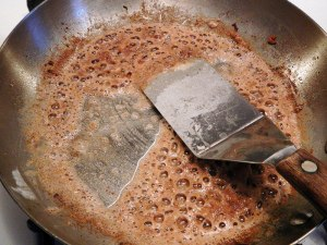 Add flour to the brandy, cream and bacon drippingsAdd flour to the brandy, cream and bacon drippings