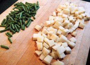 cut-up beans & potatoes