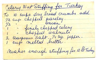 Recipe-Celery Nut Stuffing for Turkey
