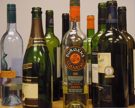 12 (empty) bottles of wine from Spain andPortugal