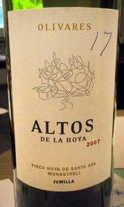 vino Monastrell - Altos de la Hoya