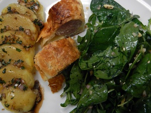 Rhone 2nd course: Potato, Sausage in Pastry and Salad
