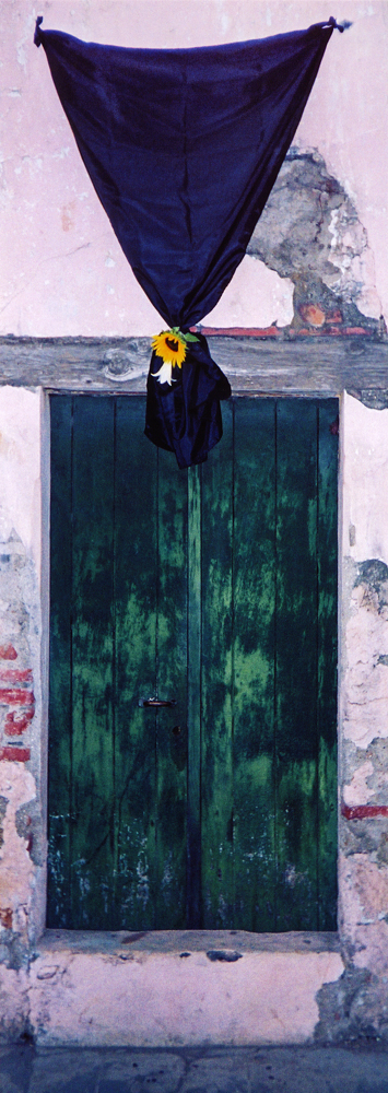 a door decorated for Santa Semana in Guatemala at Easter