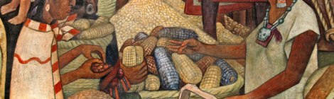 Diego Rivera mural of the Mayan using cocoa beans to buy corn