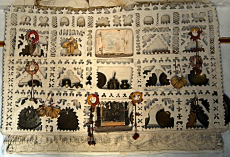 Plaster collage with added pieces in the Faux Village outside Jaisalmer