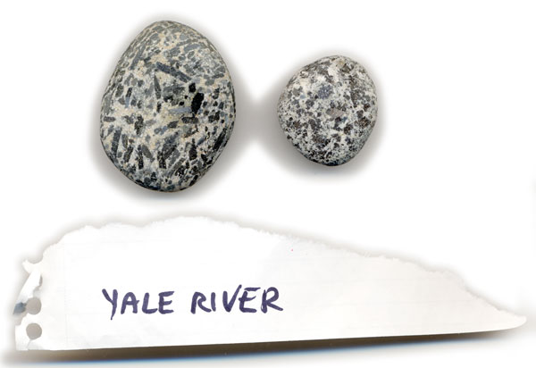 Granite pebbles from Yale River