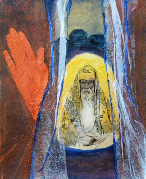 Holyman painting with tissue paper added