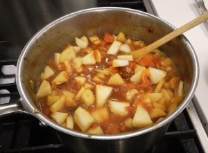 curried apple chutney in progress