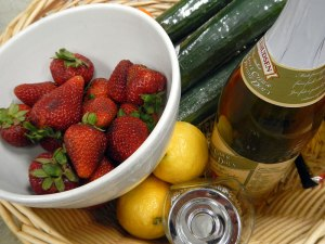 ingredients for the strawberry cucumber salad