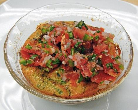 the Seafood Clafoutis was served with homemade tomato salsa cruda on top