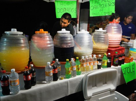 a row of cold Aguas Frescas for a warm evening in Puerto Vallarta
