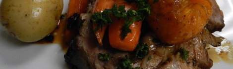 from the Rhone Valley, Pork Roast with Mandarin Oranges and Vegetable