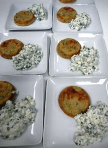 tuna 'cakes' and cottage cheese