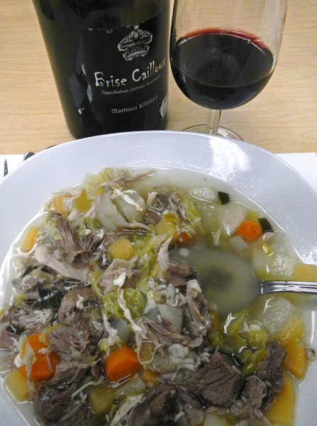 Wooden Leg Soup with the chosen accompanying wine