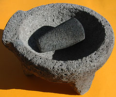 molcajete, a traditional mortar and pestle made from coarse volcanic rock
