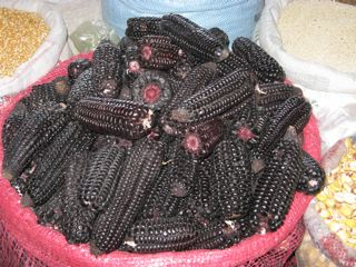blue corn (maiz) in Peruvian market