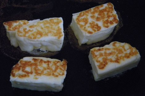 fry halloumi until golden on both sides (or grill)