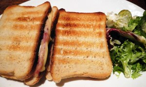 Croque Monsieur, a basic grilled ham and cheese sandwich