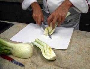 cutting up the fennel