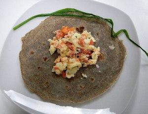 the smoked salmon and egg mixture