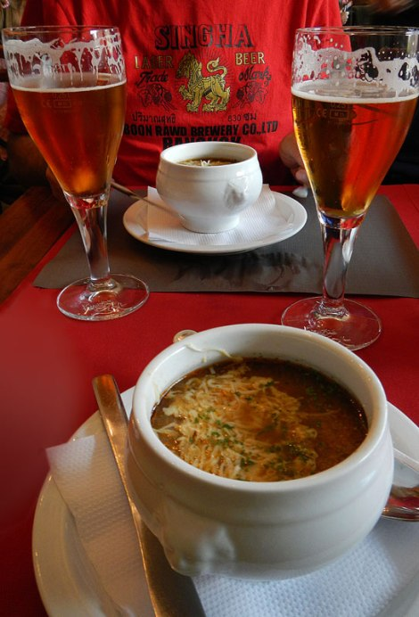 Bruges Zot and French Onion Soup