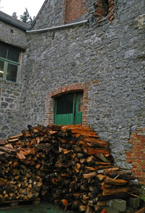 the wood pile outside Caracole Brewery