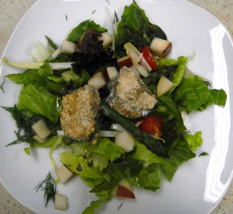 Hazelnut-Crusted Sainte Maure du Touraine Goat Cheese Salad.