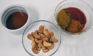 cashews, spices and fish sauce