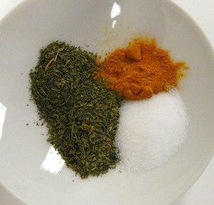 tumeric, salt and fenugreek