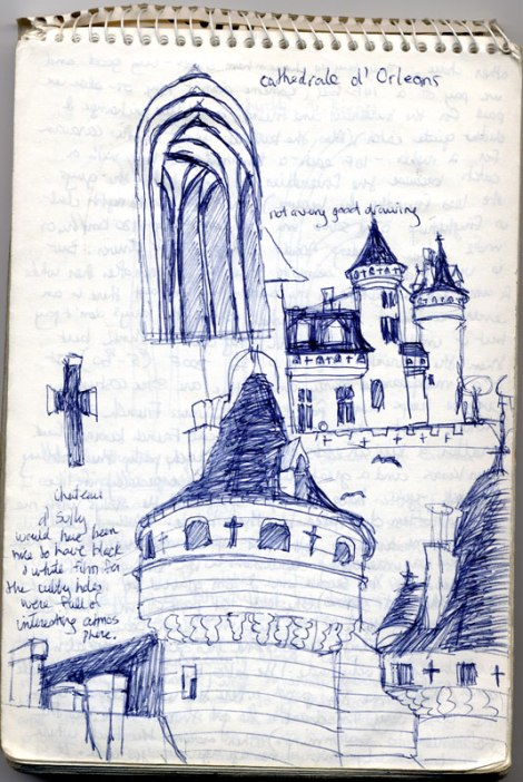 sketch of Chateaux d'Sully plus other sites along my tour of the chateaux of the Loire