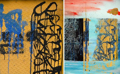 photo of black scribble graffiti layered over scribble painting in Photoshop