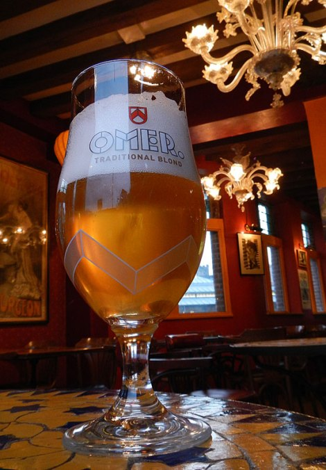Omer Beer in a Ghent cafe