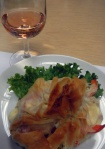 Filo with rosé wine