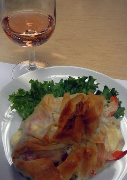 Filo with rosé wine