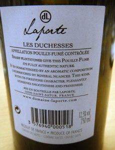 Laporte Pouilly Fume Wine Back Label