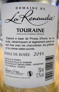 the back label of La Renaudie Perle de Rosée