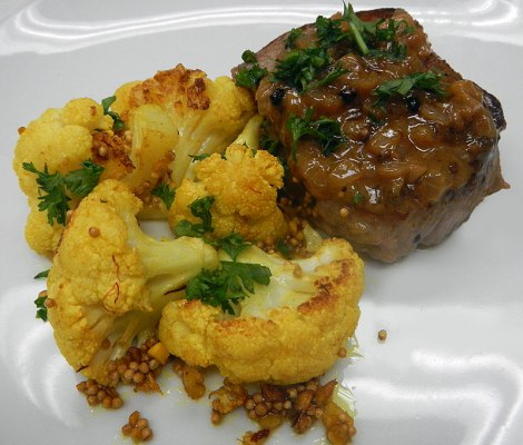 roasted cauliflower with peppercorn steak