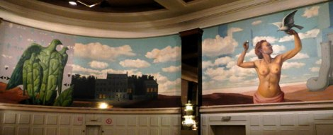 Knokke-Heist Casino with its mural by Magritte