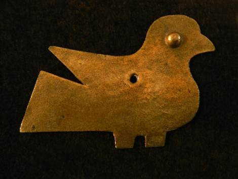 Copper bird in the museum at the Ruines de Montaigle