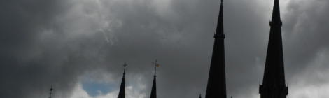 Delft: the New Church Silhouetted Against a Stormy Sky
