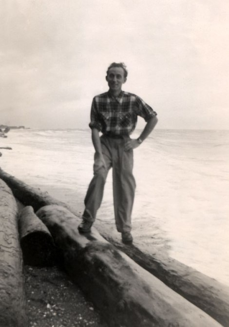 dad on the beach at Stanley Park c.1952