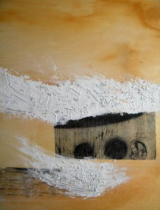 painting on wood panel with spackle/medium/pebble texture applied