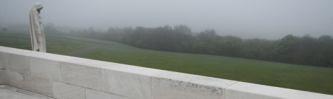 woman standing guard over the Vimy Ridge Memorial