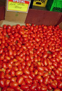 bins of Roma tomatoes for sale at Santa Barbara Market