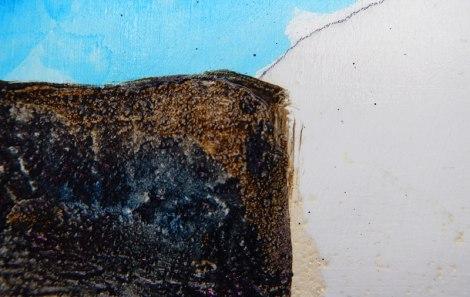 sepia and payne's grey 'fluid' acrylic glaze on sand spackle