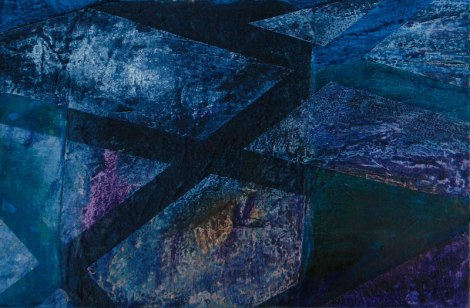 thalo blue, dioxanene purple and liquid acrylic colours on textures separated by masking tape