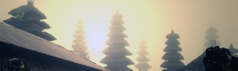 Bali temple in the fog at sunrise