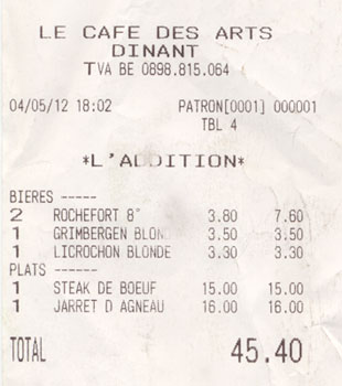 The bill from the Café Des Artes