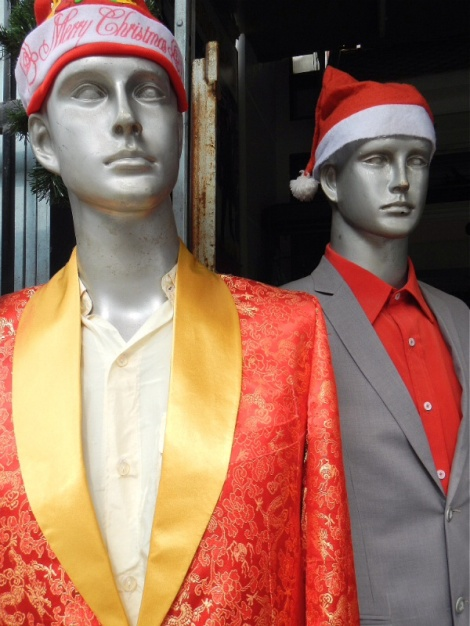 you can get unique tailored Santa suits in Hoi An