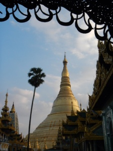 the golden stupa of Shwedagon Pagoda in Yangon, Myanmar